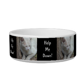 White Cat up a Tree - Help Me Down! Cat Bowl