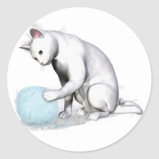 White Cat with Ball of Yarn Stickers