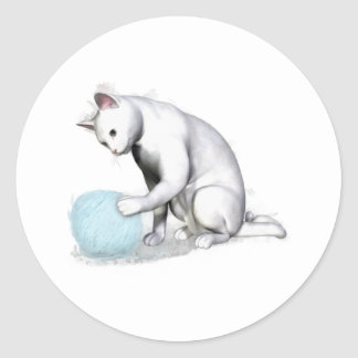 White Cat with Ball of Yarn Sticker