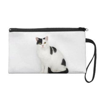 White cat with black spots wristlet purses