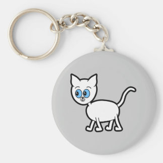 White Cat with Blue Eyes. Basic Round Button Key Ring