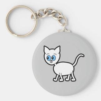 White Cat with Blue Eyes. Basic Round Button Key Ring