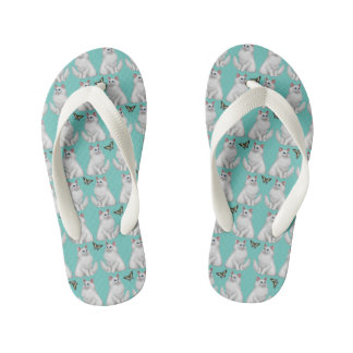 White Cat with Butterfly Kids Flip Flops