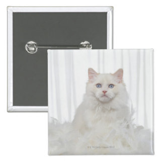 White Cat with Feathers 15 Cm Square Badge