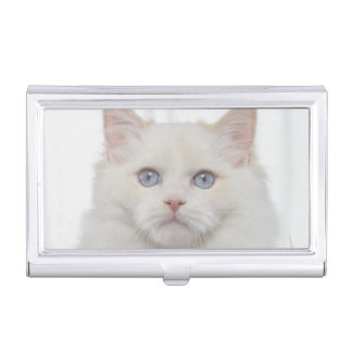 White Cat with Feathers Business Card Holder
