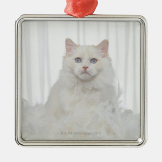 White Cat with Feathers Christmas Ornament
