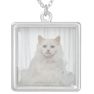 White Cat with Feathers Silver Plated Necklace