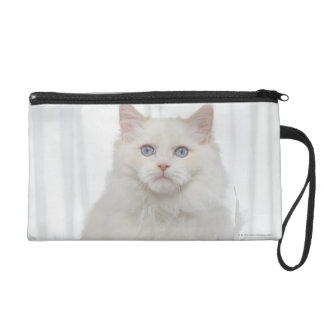 White Cat with Feathers Wristlet Purse