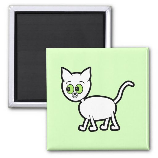 White Cat with Green Eyes. Magnet
