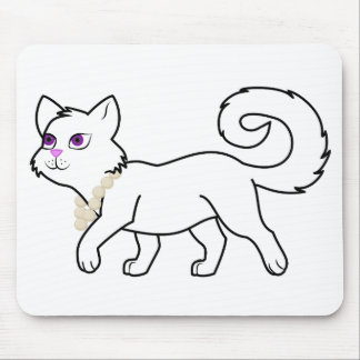 White Cat with Pearl Necklace Mouse Pad