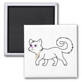 White Cat with Pearl Necklace Square Magnet