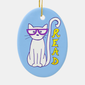 White Cat with Purple Glasses with Read Sign Christmas Ornament