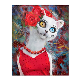 White cat with roses acrylic print