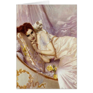 white cat woman lady white purple silk bed card