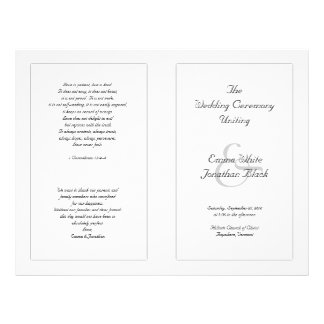 White Catholic Wedding Ceremony Program 21.5 Cm X 28 Cm Flyer
