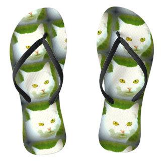 White cats flip flops