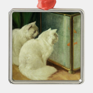 White Cats Watching Goldfish Christmas Ornament