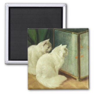 White Cats Watching Goldfish Refrigerator Magnets