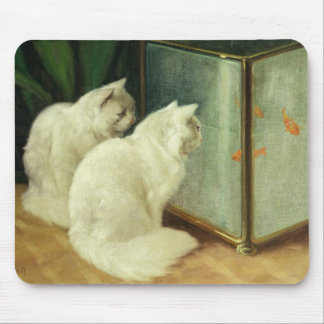 White Cats Watching Goldfish Mouse Pad