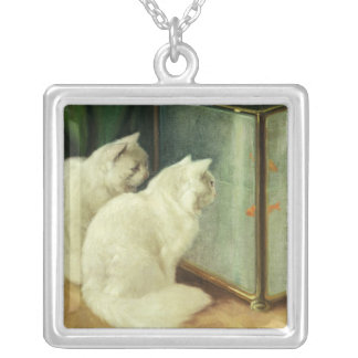 White Cats Watching Goldfish Silver Plated Necklace