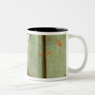 White Cats Watching Goldfish Two-Tone Coffee Mug