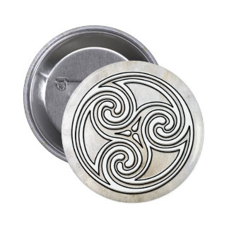 White Celtic Irish Knot Triskelion Marble Button