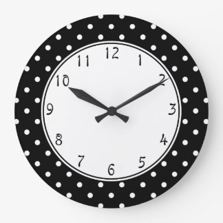 White center circle Small White Polka dots black b Wallclocks