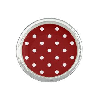White center Small White Polka dots red background