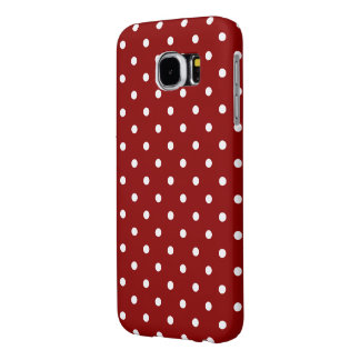 White center Small White Polka dots red background Samsung Galaxy S6 Cases