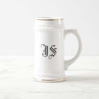 White Ceramic Beer Stein with Custom Initials