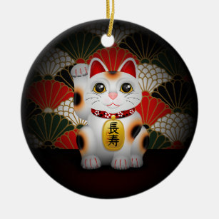 White Ceramic Maneki Neko Christmas Ornament