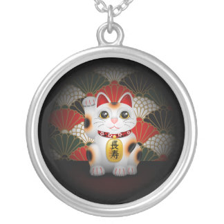 White Ceramic Maneki Neko Silver Plated Necklace