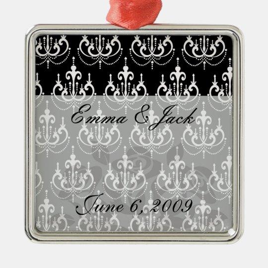 white chadelier on black modern damask design christmas ornament