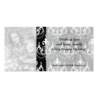 white chadelier on black modern damask design picture card