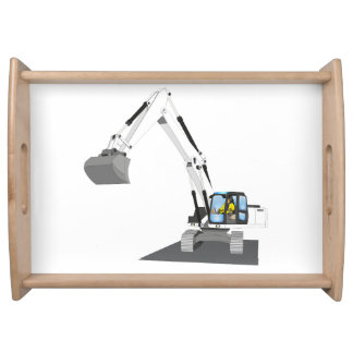 white chain excavator serving tray