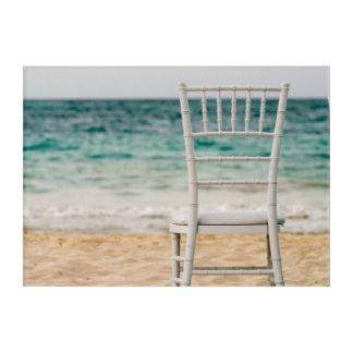 White Chair On The Beach Acrylic Print