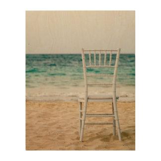 White Chair On The Beach Wood Print