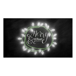 White Chalk Drawn Merry and Bright Holiday Pack Of Standard Business Cards