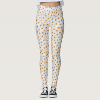 White Chamomile Flower Pattern Leggings