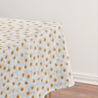 White Chamomile Flower Pattern Tablecloth