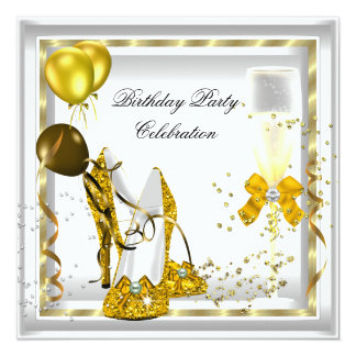 White Champagne Gold Glitter Heels Birthday Party 13 Cm X 13 Cm Square Invitation Card