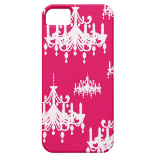 white chandelier baroque on red raspberry iPhone 5 cover