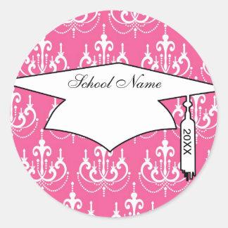 white chandelier chic pink damask graduation classic round sticker