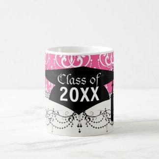 white chandelier chic pink damask graduation mugs