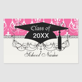 white chandelier chic pink damask graduation rectangular sticker
