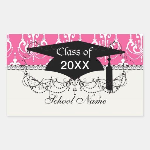 white chandelier chic pink damask graduation rectangular sticker