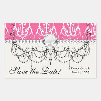 white chandelier chic pink damask rectangular sticker