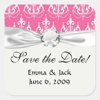 white chandelier chic pink damask square sticker