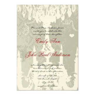 White Chandeliers on Silver Cloud Wedding Invite