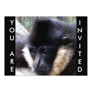 "White Cheeked Gibbon Pastel 5"" X 7"" Invitation Card"